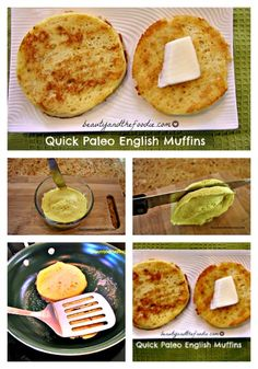 Quick Paleo English Muffins , nut free and dairy free options with low carb version Pinstructions / beautyandthefoodie.com