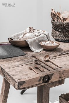 © Paulina Arcklin, rustic table, wood bowl, wooden utensils