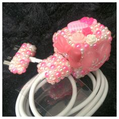 Pink Barbie Cute Kawaii Girly Bling Pearl iPhone 4 or 5 iPod Charger