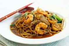 Penang Hokkien Char - shrimp, pork, bean sprouts, fish balls, choy sum