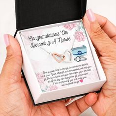 This necklace is a great way to show a special graduate how proud you are of their accomplishment of completing their nursing degree. The message card says: now is your time to help the world one patient at a time. Your strength and compassion will help you go far as a nurse and just remember your smallest act of the day can change the life of someone. I am so proud of you and know you will do great things. #nursegraduationgift #necklacefornursegraduate Nursing Graduation, Graduation Gifts, Double Heart Necklace, Graduation Necklace, Daughter Necklace, Two Hearts, Dancing In The Rain, Message Card, Im Happy