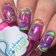 Mucking Fusser: Rainbow Spiral Water Marble Nail Art Featuring Pipe Dream Polish A Night in Vegas collection Gorgeous Nails, Love Nails, Pretty Nails, Water Marble Nail Art, Rainbow Nails, Cute Nail Art, Cute Nail Designs, Creative Nails, Acrylic Nail Art