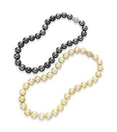 The Collection of Elizabeth Taylor: Jewelry (II) TWO SINGLE-STRAND CULTURED PEARL AND DIAMOND NECKLACES