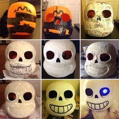 What's up vertebruhs? Lot's of people asked how I did my Sans mask so here's a quick step by step! This is following attackgoose's tutorial by the way. 1) cut the bottom out of one pumpkin bucket and the top and bottom out of a second one. Slap 'em together. 2) use the excess from step 1 to add shape. Cut out the eyes and nose (and mouth if you want). 3) Paper mache the whole thing to  get rid of the ridges. 4) Add details with paperclay. Smooth with water. 5) I was still unhappy with the…