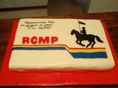 RCMP cake -- love it for a transfer party! Gimme Some Sugar, Let Them Eat Cake, Cake Decorating, Baking, Birthday, Party, Desserts, Ornament, Recipes