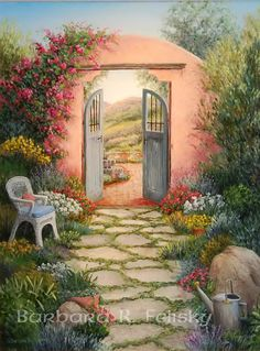 "Photo from album ""Barbara Rosbe Felisky"" on Yandex. Garden Painting, House Painting, Life Paint, Cottage Art, Southwest Art, Background Pictures, Beautiful Paintings, Painting Inspiration, Landscape Paintings"