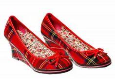 Tartan Wedge Shoes, Stewart Royal