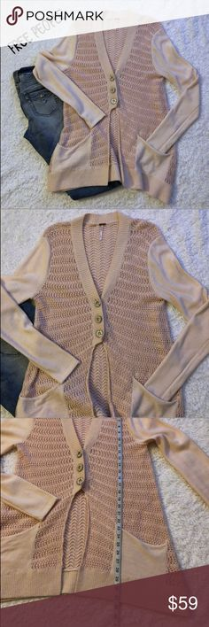 Free People Long Pale Pink Cardigan In excellent condition. No stains or rips. Has a good amount of stretch. Measurements on pictures above. Any questions pls ask me. Bundle to save and offers are welcome :) Free People Sweaters Cardigans
