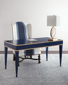 Barclay Butera Liam Writing Desk at Neiman Marcus Office Table, Home Office Desks, Home Office Furniture, Office Decor, Furniture Design, Blue Furniture, Wood Furniture, Furniture Stores, Luxury Furniture