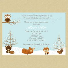 Forest Friends...Winter Baby Shower Invitation (Neutral - Boy or Girl). $10.00, via Etsy.