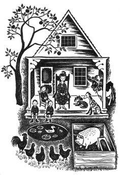 art, spot illustration, building house, animal, dog, cat, bird, chicken, pig, farm, tree, naive. black & whte //  Barbara cooney