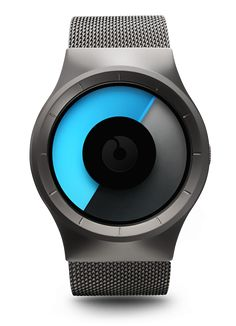 Ziiro Celeste - tells time using blue and gray colored discs that overlap - I don't know if I would ever actually figure out what time it is but it'd look cool