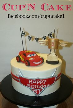 Lightening McQueen cake! Facebook.com/cupncake1