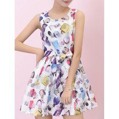 Stylish Sleeveless Perfume Bottle Print Bowknot Design Women's Organza Dress — 20.18 € Size: XL Color: WHITE