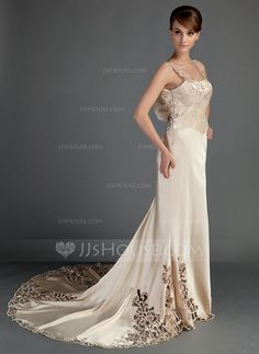 Trumpet/Mermaid Chapel Train Lace Zipper Up at Side Regular Straps Sleeveless Beach General Plus Spring Summer Champagne Charmeuse Wedding Dress
