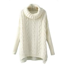 White High Neck Womens Classic Cable Knit Plain Pullover Sweater (44 AUD) ❤ liked on Polyvore featuring tops, sweaters, shirts, white, white cable knit sweater, high neck shirt, white top, white cable sweater and pullover shirt