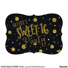 Gold & Black SWEET 16 Birthday Party Invitations