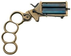 The True Companion Manufactured either in the US or in France/Belgium - serial number cap and ball twin-shot cylinder, single action with spur trigger, brass knuckle folding handle, brass frame, blued cylinder. Hidden Weapons, Custom Lighters, Steampunk Weapons, Brass Knuckles, Double Barrel, Survival Equipment, Guns And Ammo, Firearms, Hand Guns