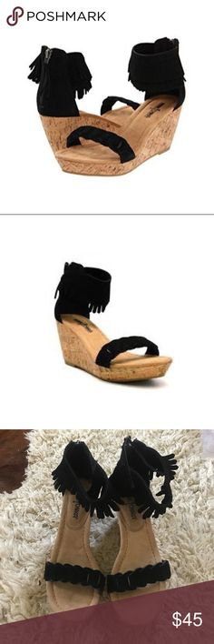 Minnetonka Nicki Black Wedges Open toe black leather fringe wedge sandal. Boho Chic! In great condition. Hardly worn. See pictures! Minnetonka Shoes Wedges