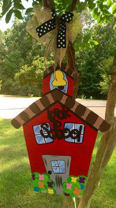 School house door hanger - back to school door sign - classroom decor via Etsy