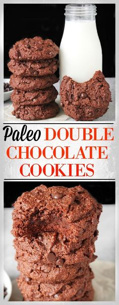 Paleo Double Chocolate Cookies- easy, rich, fudgy, and so delicious! Gluten free, dairy free, and naturally sweetened.