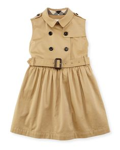 Iliana Sleeveless Trench Dress, Amber, Girls' 4-14, Size: 6, Honey - Burberry