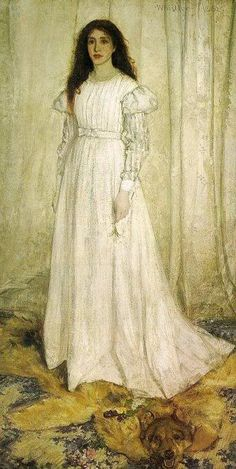 "Whistler ""Symphony in White"" number 1. One of the more well known girls in white. Whistler had a knack with fabric.  Not perhaps as fine as others like Sargent and Zorn surely but very fine indeed."