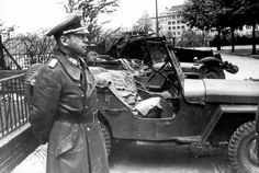 Gen. Hans Krebs, the last wartime chief of the German army staff, arrives at a Soviet HQ to discuss terms of surrender. His offer was refused. Krebs returned to Berlin and committed suicide in Hitler's bunker on May 2, 1945.