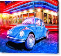 Blue VW Bug Canvas Print featuring Your Chariot Awaits - Classic VW Beetle by Mark Tisdale