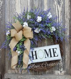 Items similar to Lavender and cotton wreath- Lavender wreaths for front door- Grapevine wreat. : Items similar to Lavender and cotton wreath- Lavender wreaths for front door- Grapevine wreath- Farmhouse wreath- Home sign- Front door decor on Etsy, Front Door Decor, Wreaths For Front Door, Door Wreaths, Diy Wreath, Grapevine Wreath, Wreath Making, Burlap Wreath, Lavender Wreath, Country Wreaths