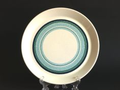 Crown Lynn Seacape Bread or Dessert Plates - Set of Three - Blue Green Circle Salad Side Plates - Made in New Zealand by FunkyKoala on Etsy