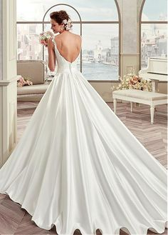 Buy discount Elegant Tulle & Satin V-Neck A-Line Wedding Dresses With Lace Appliques at Magbridal.com