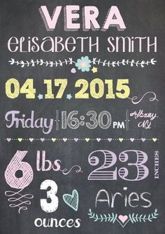 Custom Birth Announcement New Born Chalkboard by LoveKnotStore