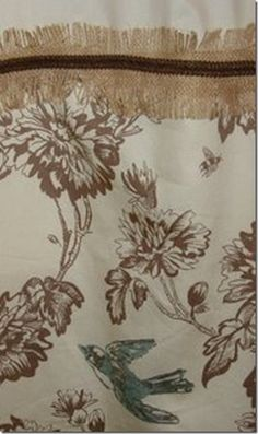 Burlap embellishment on curtains Burlap Party, Kitchen Window Valances, Art Nouveau, Art Deco, Muted Colors, Fresco, Grey Scale, Pure Products, Decorating