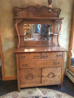 Antique Oak Sideboard Buffet In Antiques, Furniture, Sideboards U0026 Buffets |  EBay