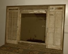 Mirror with shutters & repurposed wood by YesteryearRecycled