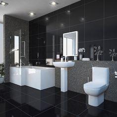 L Shaped Bath, Bath Screens, Bath Panel, Big Bathrooms, Towel Rail, White Acrylics, Baseboards, Chrome Finish, Toilet