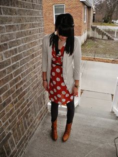 Love the polka-dots and the leggings. And the shoes. And sweater! #fashion