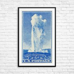 Yellowstone National Park poster, perfect fathers day gift, Old Faithful art print, vintage US postage stamp, vintage national park postcard National Park Posters, National Parks, Poster Size Prints, Art Prints, Old Faithful, Blue Home Decor, Historical Art, Yellowstone National Park, Postage Stamps