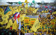 """Protesters mass in Brasilia against Temer, austerity   By AFP          Demonstrators rally during the protest """"Occupy Brasilia"""" against th..."""