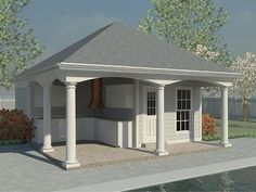 006P 0006: Pool House Plan With Outdoor Kitchen And Storage