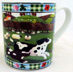 Dog Mug Exclusive Funny & Cute Dogs Farm Scene Porcelain Mug Hand Made in UK #RainbowDecorsLtd #Contemporary
