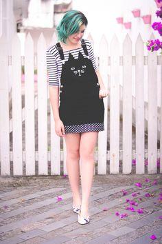 Look jardineira e sapatilha de gatinhos // Cute outfit by Jess Vieira