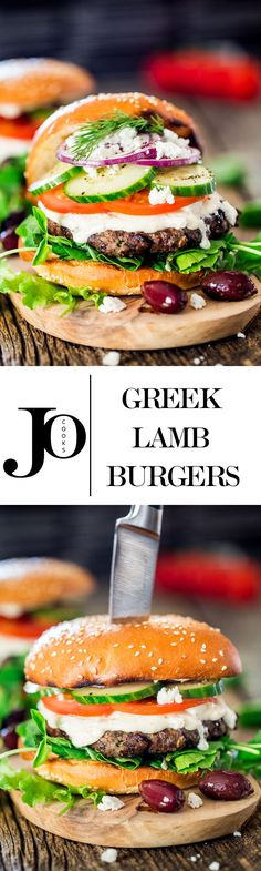 Greek lamb burgers are grilled to perfection. They're juicy and flavorful, served on a toasted bun with tzatziki sauce, tomatoes, cucumbers and feta cheese. Lamb Recipes, Burger Recipes, Greek Recipes, Dinner Recipes, Cooking Recipes, Healthy Recipes, Lamb Burgers, Gourmet Burgers, Burger And Fries