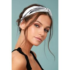 Away to Aruba Black and White Striped Headband ($10) ❤ liked on Polyvore featuring accessories, hair accessories, hair, black, head wrap headband, satin headbands, hair band headband, hair band accessories and headband hair accessories