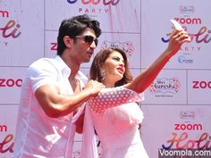 Jacqueline and Sushant taking selfies at a Holi party! Click Here >> Voompla.com