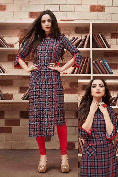Office wearable kurti Printed Kurti Designs, Kurta Designs, Blouse Designs, Khadi Kurta, Churidar, Fancy Kurti, Latest Kurti, Kurti Patterns, Kurti Collection