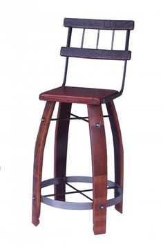 "28"" Wood Stave Stool w/ Back - 2 Day Designs Wine Barrel Bar Stools, Wine Barrels, Stool Chair, Wood Stool, Leather Stool, Tan Leather, Wine Refrigerator, Wine Fridge, Upcycled Furniture"