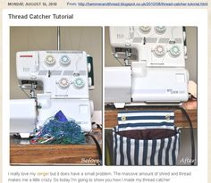 DIY - Thread Catcher Tutorial. (Bag for on the table underneath your serger/ overlocker/ sewing machine scraps.)