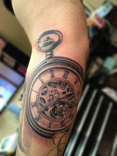 Black And Grey Pocket Watch Tattoo On Forearm